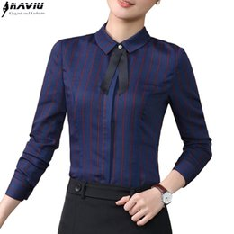 Wholesale Striped Formal Blouse Women - women clothes 2017 New elegant fashion stripe tie shirt spring formal slim long sleeve blouse office ladies plus size tops
