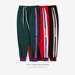 Wholesale Xxl Sweatpants - Pants for Men 2018 Long Green Fear Of God Fifth Collection FOG Justin Bieber Side Stripes Casual Sweatpants Men Hiphop Jogger Pants S-XXL