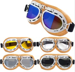 Wholesale leather motorcycle goggles - Goggles Eyewear Aviator Pilot Cruiser Scooter Clear Elastic Belt Silver Yellow Leather Anti UV Outdoor Motorcycle Glasses GGA276 60PCS