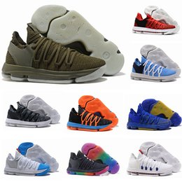 Wholesale Kd Basketball Shoes Blue - 2017 FMVP Correct Version Kevin KD X 10 Mens Basketball Shoes Warriors Home Wolf Durant 10s Training Sport Sneakers US 7-12