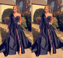 Wholesale Prom Pants Gowns - 2018 Custom Made A-Line One Shoulder Evening Dresses Without Pant Side Split Satin Long Sleeve Evening Gowns Formal Prom Dresses