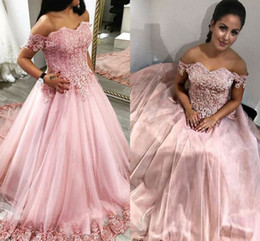 Wholesale Custom Bridal Gowns China - 2018 New Pink A Line Wedding Dresses Made in China Lace Appliques off the Shoulder Sweetheart Floor Length Tulle Country Bridal Gowns 1