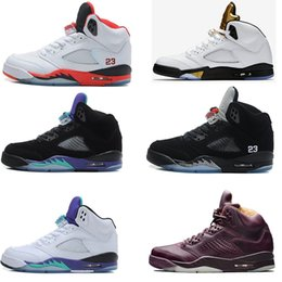 Wholesale Fresh M - High Quality Air retro 5 Men's Basketball Shoes Space Jam Black Grape Oreo Leather Black Fresh Prince Athletics Sports Sneakers size41-47