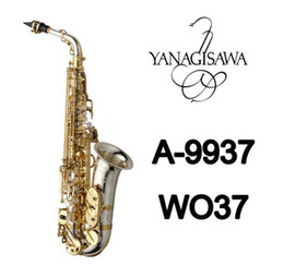 Caixas de sax alto on-line-Brand New YANAGISAWA AWO37 Alto Saxofone chapeamento de Prata Chave de Ouro Profissional YANAGISAWA Super Play Sax Bocal Com Caso