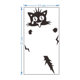 Wholesale Removable Wall Decals Cats - 1 pc wholesale cute funny Electric shock cat switch stickers home decoration wall decals mural art posters vinyl diy adesivos de pareAEI-387