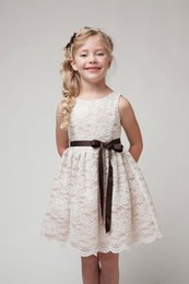 Wholesale Girls Price - Girl's lace dresses Sleeveless Ribbon princess tank dress Middle big girls Cheap price 2018 summer