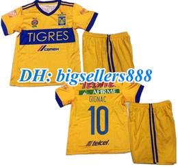 Wholesale Star Child Boy - best quality 17 18 kids Mexico club Tigres UANL home 6 stars soccer Jersey Kits 2017 GIGNAC GUERRON 3RD Away black child Football Shirts