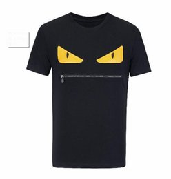 Wholesale leather sleeves shirt women - 2018 Brand Men Women short sleeve T shirt cute little monster funny leather eyes big mouth high quality cotton cool t shirt hip hop tops tee