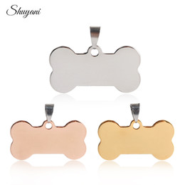Wholesale Horn Bone Jewelry - whole saleEngravable Stainless Steel Bone Shape Dog Necklace&Pendants Pet Personalized Tel Name ID Tag Necklace Jewelry