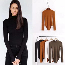 Wholesale Mock Neck Long Sleeve - Women Sexy Bodysuit Autumn Body Suit Mock Neck Long Sleeve Bodysuit Party Tops Rompers Womens Jumpsuit LJJO4314