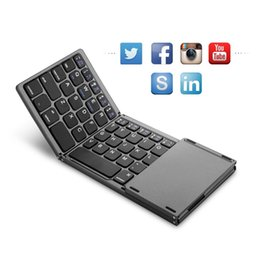 Wholesale Three Mobile Cell Phones - Cell Phone Keyboards Universal three-fold with touchpad tablet mobile computer wireless Bluetooth folding mini keyboard 088