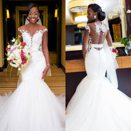 0111a134d09 beautiful african wedding dresses 2019 - Beautiful White Lace Mermaid Wedding  Dresses African Saudi Arabic Cap