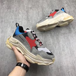 Wholesale Women S White Rubber Shoes - 2018Balenciaga Triple S Speed Trainer Yellow Green Black White Dad Shoes Authentic Sneakers Running Shoes Original Quality Men Women