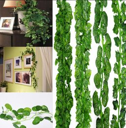 Wholesale fake hanging plants - 200cm Artificial Greenery Leaf Garland Plants Fake Foliage Flowers Ivy Leaf Wedding Home Decor Fashion Wall Hanging EEA362 120pcs
