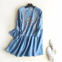 Wholesale Women Summer Jeans Dress - QZ1898 New arrivels cute floral embroidery flare sleeve tencel jeans dress women pleated o neck dresses vestidos