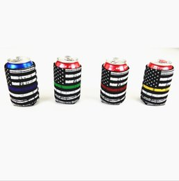 Wholesale america national - Neoprene America National Flag Can Sleeves Beverage Coolers With Bottom Beer Cup Cover Case Bottle Drinkware Handle Kids Cup Holder OOA5409