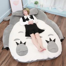 totoro figures Coupons - Japan Anime Totoro Plush Bed Big Stuffed Cat Sleeping Bag Bed Tatami Mattress 200cm x 150cm DY50464