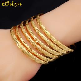 oro etioco Sconti Ethlyn 6 pz / lotto Dubai Partito Colore oro Braccialetti bracciali Donna Decorazione Bangle africano etiope all'ingrosso di gioielli B033