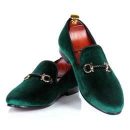 chaussures sur mesure taille 14 Promotion Hommes robe chaussures vertes mocassins en velours chaussures tissés boucle sangle mariage personnalisé goutte gratuite expédition taille 7-14