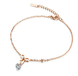 Wholesale Rose Gold Anklets - Romantic Charm Rose Gold Color Stainless Steel Bowknot Anklets Foot Jewelry For Women Lady Best Birthday Gift