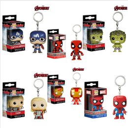 Wholesale Pop Heroes - Funko POP Marvel Super Hero Action Figure keychain Deadpool Harry Potter Goku Spiderman Joker Game of Thrones Figurines Toy Keychains Movies