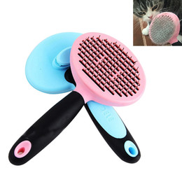 Wholesale Hair Brush Cleaner Pink - Pet Dog Comb Round Head Nylon Needle Dog Brush Hair Remover Brush Grooming Tools Dog Accessories Pink Blue JJ0677