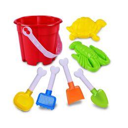 Wholesale Toy Sand Bucket Wholesale - 7Pcs Sand Sandbeach Kids Beach Toys Castle Bucket Spade Shovel Rake Water Pretending Toys Gift Levert Dropship Oct 26