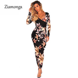 Wholesale Ladies Floral Overalls - Ziamonga New Vintage One Piece Floral Printes Women Jumpsuit Long Sleeve Skinny Long Pants Ladies Romper Sexy Party Overalls