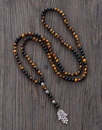 Wholesale Tiger Necklace Men - Men Necklace 6MM Tiger Eye Onyx with Antique Beads Hamsa Fatima Hand Pendant Mens Rosary Necklace Men Jewelry Dropshipping