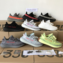 Wholesale B Cream - 2018 Last Update Sply 350 V2 Yellow Semi Frozen Cream White Zebra Bred Black Red Beluga 2.0 Kanye West Running Shoes Sneakers