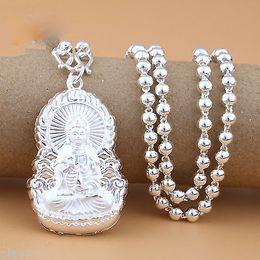 2019 colgante kwan yin Cadena de plata esterlina S925 real con collar de abalorios lisos de mujer Kwan-Yin colgante kwan yin baratos