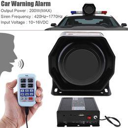 Wholesale Loud Car Alarm Horn - 12V 200W 9 Tone Loud Car Warning Alarm Police Siren Horn Speaker with MIC System AEP_10G