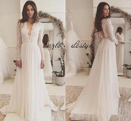 Wholesale White Flowy Dresses - Lace Chiffon Long Sleeve Plus Size Wedding Dresses 2018 Simple Cheap V-neck Backless Sweep Train Country Flowy Beach Wedding Gown