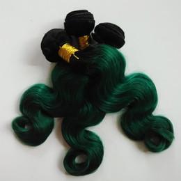 Бразильские расширения человеческих волос 3bundles волны тела девственные 2 тон 1b/зеленый цвет Omber 8-26inch волос двойной уток сексуальный Индийский волосы remy соткут cheap virgin brazilian green hair от Поставщики виргинские бразильские зеленые волосы