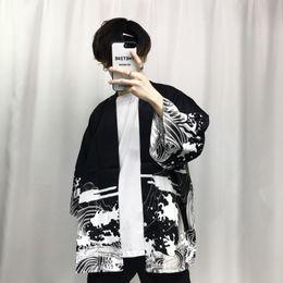 Wholesale japanese men fashion style - 2018 Summer Mens Kimono Japanese Clothes Streetwear Casual Kimonos Jackets Harajuku Japan Style Cardigan Outwear