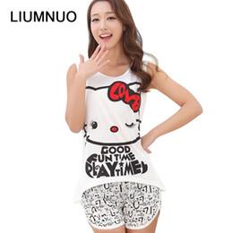 roupa da noite das fêmeas Desconto Venda quente Mulheres Camisa de Verão Pijama Roupas Marca Famaily Treino Sem Mangas Tops Shorts Set Conjuntos Femininos Noite Terno Sleepwear