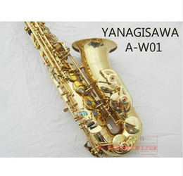 Wholesale Brass Sax - High Quality Music Instrument YANAGISAWA A-W01 Brass Gold Plated Professional Saxophone Alto Eb Tune Shell Button Sax With Mouthpiece, Case