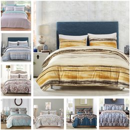 Wholesale Floral Duvet King - Fresh Stripe Floral Bedding Set Of 2PC-3PC Duvet Cover Set Quilt Cover Pillowcase Twin Queen King Size Factory Price