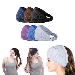Wholesale sparkle elastic headband - Sparkling Rhinestone and Dots Wide Elastic Headband