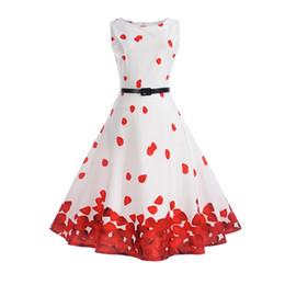 vestidos estampados de flores Rebajas Vestido floral de la vendimia del vestido de bola del verano de la manera Vestidos ocasionales para las mujeres Vestido redondo sin mangas de la cintura impresa Vestido de cintura alta para las mujeres