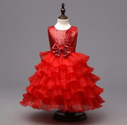 Wholesale Chinese Kids Wear - 3 Colors Girls Party Wear cake Dress Kids New Sequins Children Wedding Birthday princess bowknot dresses For Girls Kids Clothing