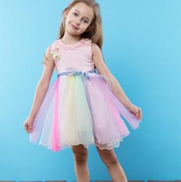 ec91aecffd1 2019 preppy flower girl dresses Ins Mädchen-Prinzessin kleidet Regenbogen- Tulle-Blumen-