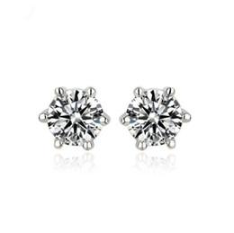 Wholesale Copper Shine - Korean 18k white gold cz stud earrings anti allergy earring for women ladies shining aaa cubic zirconia diamond earrings snap jewelry