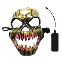Черепа онлайн-Хэллоуин руководитель группы Маска ужасный открытый рот огонь череп Эль Маскарад танцевальные вечеринки LED SlipKnot Маска фестиваль украшения