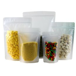 Wholesale Resealable Plastic Pouches - Frosted Clear Plastic Zip Lock Packing Bag Stand Up Pouch Resealable Doypack Zipper Food Coffee Storage Packaging Bag