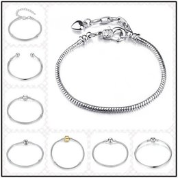 Wholesale Channel Stocks - 10 Designs in stock 925 Sterling Plated Silver 3mm Chain for European Beads 20cm Bangle Bracelet DIY Jewelry Link