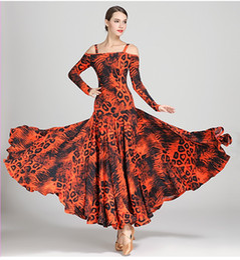 Leopardo blu stampa abiti online-New Adult / Women Ballroom Dance Dress Ladies Modern Waltz Standard Competition Practice Leopard Printed Dance Dress Blu Rosso Arancione Verde