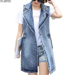 ef48a36f1818d PLAMTEE Sleeveless Long Denim Vest Women Large Size Cardigan Female  Waistcoats Vintage Chaleco Mujer Outerwear Coletes Feminino
