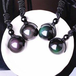 2019 collana fortunata per gli uomini Natural Stone Black Ossidiana Rainbow Eye Beads Trasferimento a sfera Lucky Love Pendenti Collane per donna Uomo Coppia regalo collana fortunata per gli uomini economici
