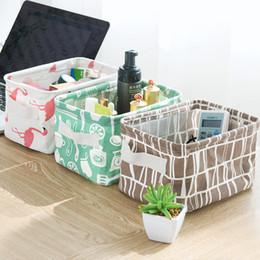 grandi contenitori di immagazzinaggio all'ingrosso Sconti INS flamingo desktop cestino di immagazzinaggio carino stampa impermeabile organizer biancheria da letto in cotone scatola di immagazzinaggio armadietto biancheria intima sacchetto di immagazzinaggio b
